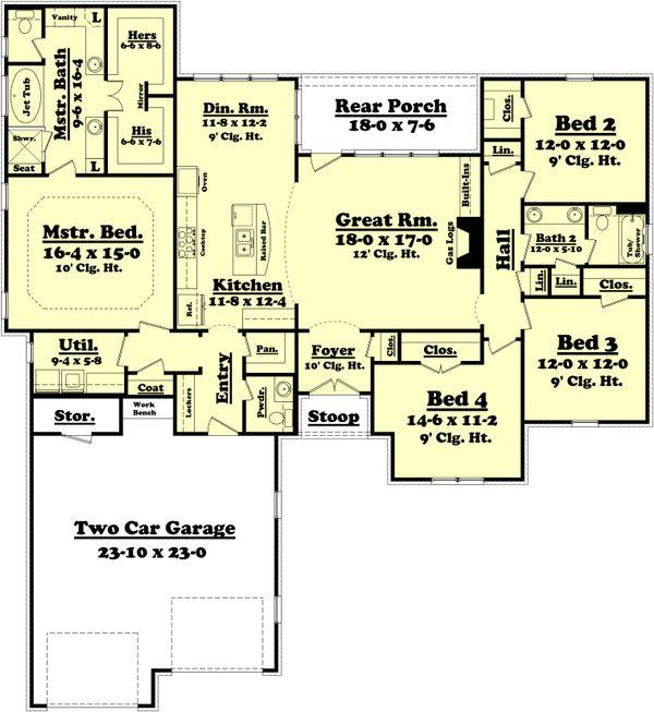 Dream House Plan - Traditional Floor Plan - Main Floor Plan #430-75