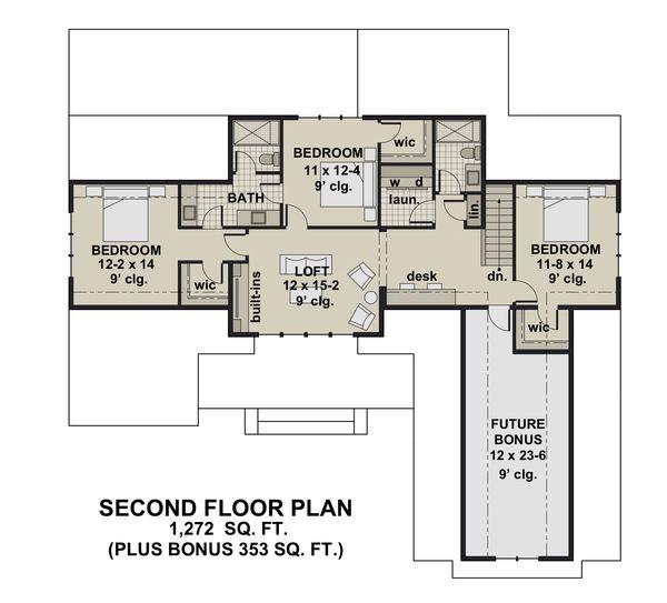 Farmhouse Floor Plan - Upper Floor Plan Plan #51-1156