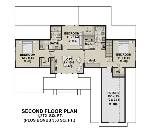Dream House Plan - Farmhouse Floor Plan - Upper Floor Plan #51-1156