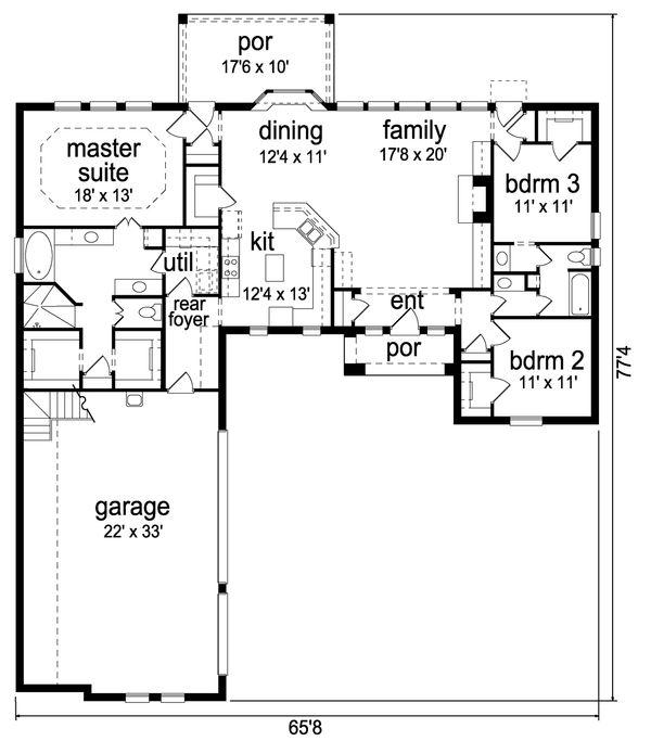 Traditional Floor Plan - Main Floor Plan Plan #84-624