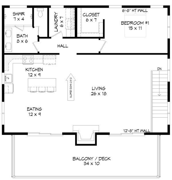 Contemporary Floor Plan - Upper Floor Plan #932-297