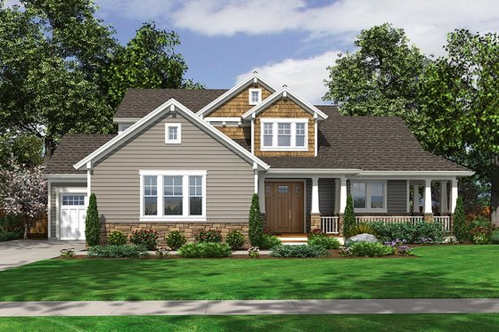 Craftsman Exterior - Front Elevation Plan #46-471