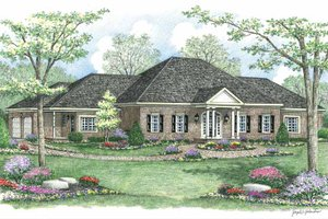 Ranch Exterior - Front Elevation Plan #1002-18