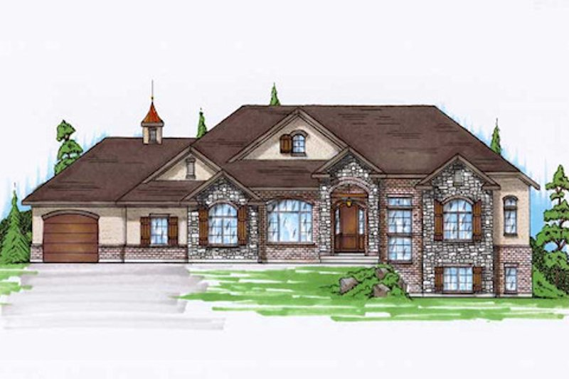 European Exterior - Front Elevation Plan #5-248