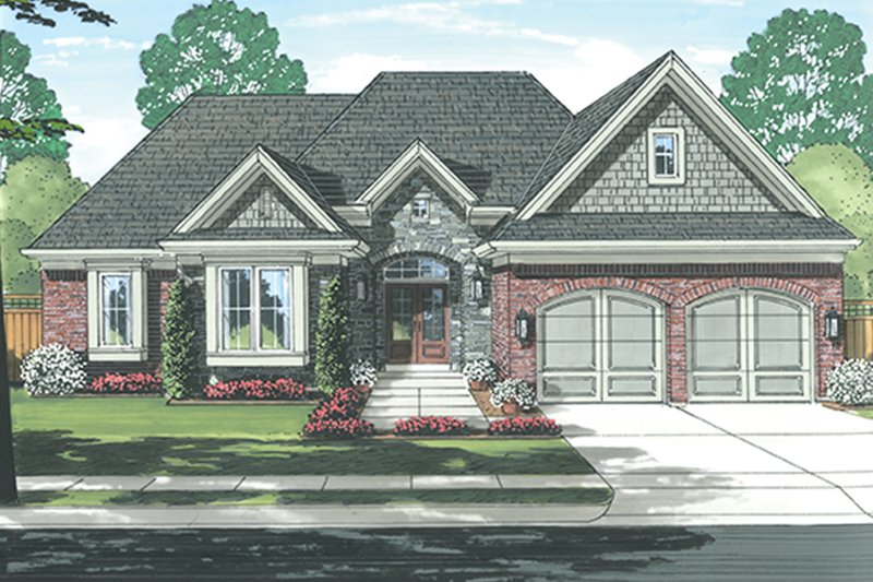 European Exterior - Front Elevation Plan #46-851 - Houseplans.com