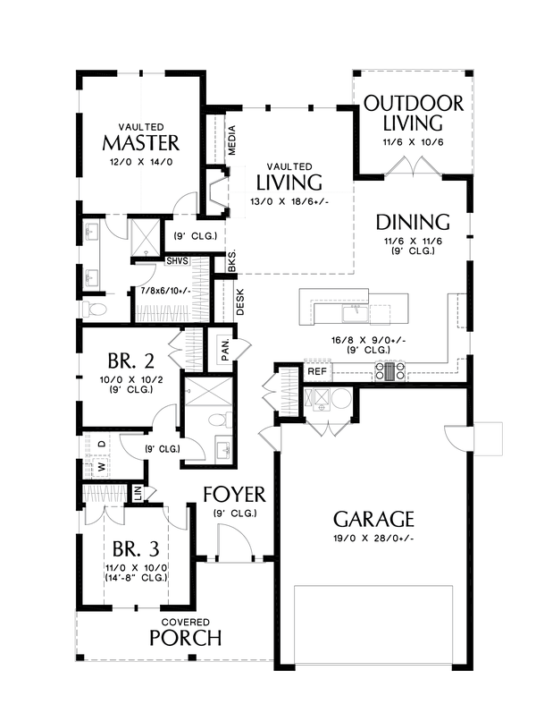 House Plan Design - Farmhouse Floor Plan - Main Floor Plan #48-1032