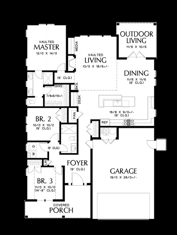 Home Plan - Farmhouse Floor Plan - Main Floor Plan #48-1032