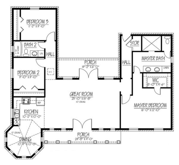 Adobe / Southwestern Floor Plan - Main Floor Plan Plan #1061-24