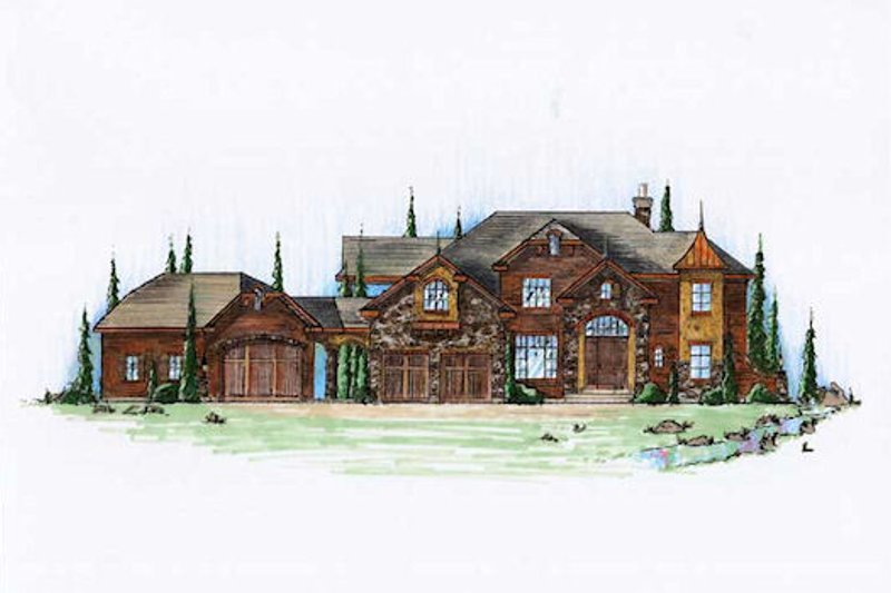 European Exterior - Front Elevation Plan #5-431