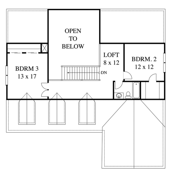 Colonial Floor Plan - Upper Floor Plan Plan #1053-43