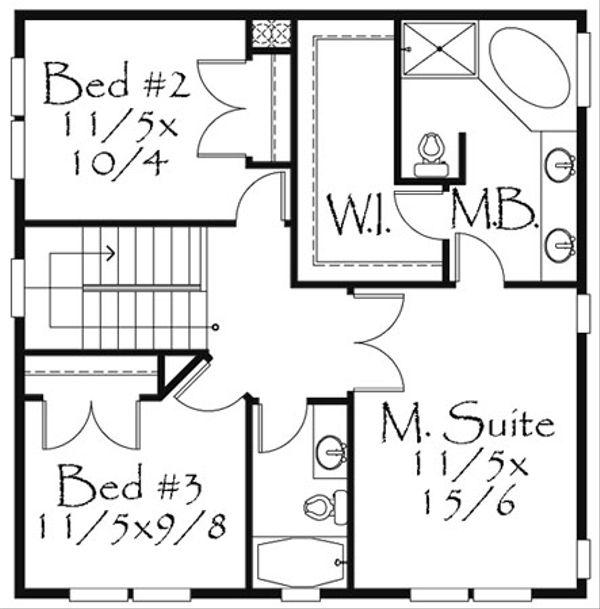 Farmhouse Style House Plan - 3 Beds 2.5 Baths 1730 Sq/Ft Plan #509-21 Floor Plan - Upper Floor Plan