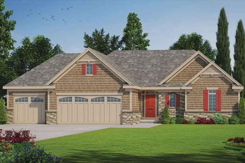 Craftsman Exterior - Front Elevation Plan #20-2336