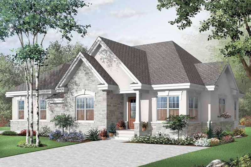 Dream House Plan - European Exterior - Front Elevation Plan #23-2396