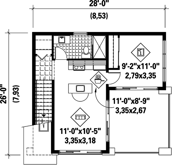 Contemporary Floor Plan - Upper Floor Plan Plan #25-4753