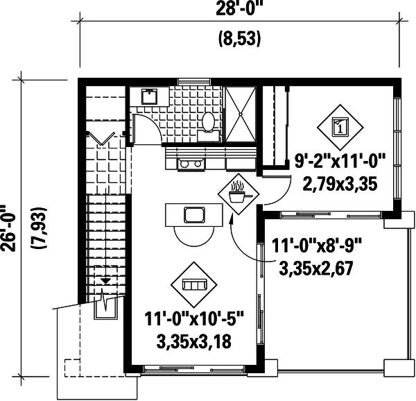 Contemporary Floor Plan - Upper Floor Plan #25-4753