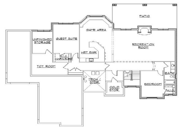 European Floor Plan - Lower Floor Plan Plan #5-288