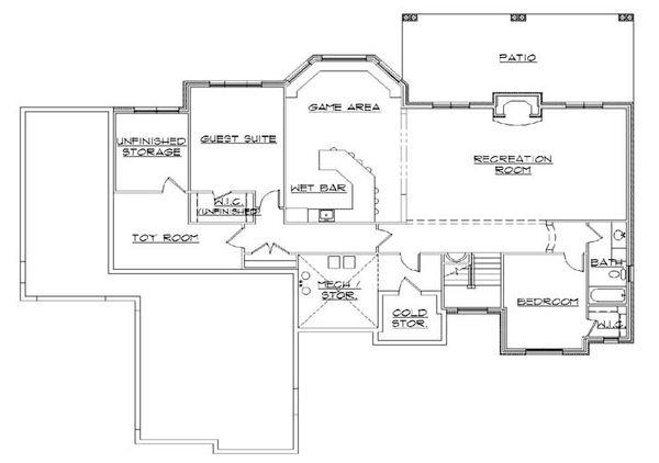 House Plan Design - European Floor Plan - Lower Floor Plan #5-288