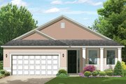 Colonial Style House Plan - 2 Beds 2 Baths 1400 Sq/Ft Plan #1058-102 Exterior - Front Elevation