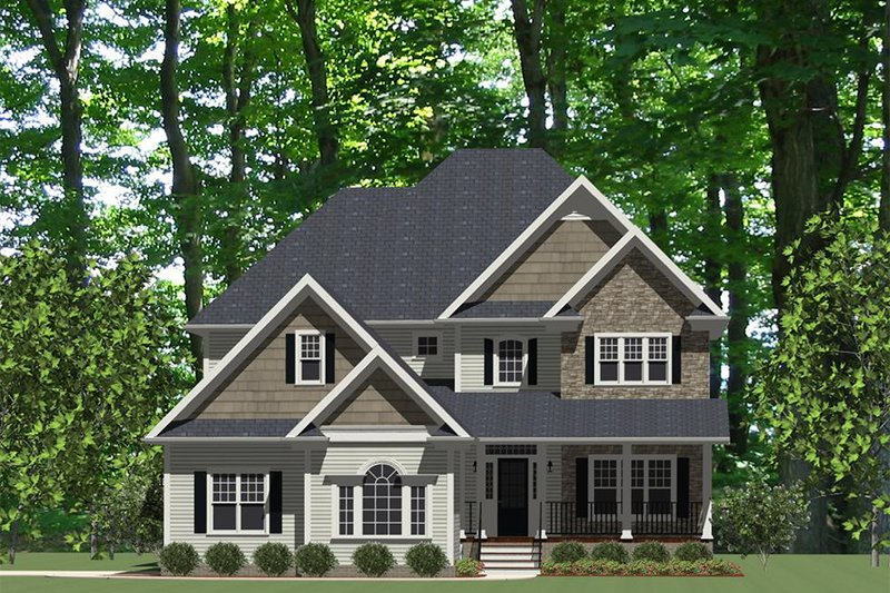 Traditional Style House Plan - 3 Beds 2.5 Baths 2078 Sq/Ft Plan #898-17 Exterior - Front Elevation