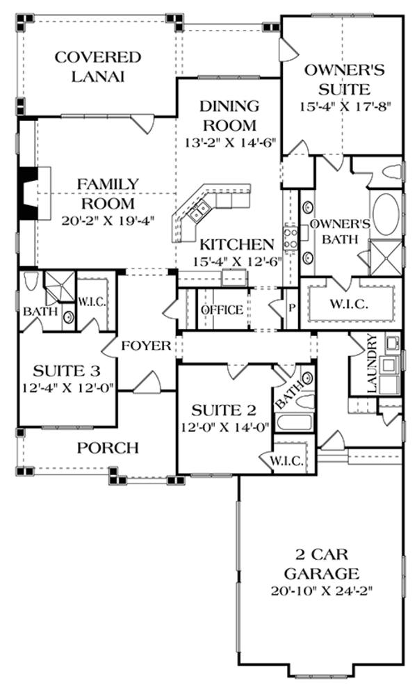 Craftsman Floor Plan - Main Floor Plan Plan #453-623
