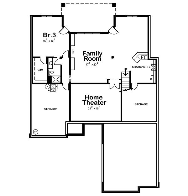 European Floor Plan - Lower Floor Plan Plan #20-2046