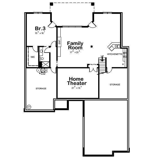 European Floor Plan - Lower Floor Plan Plan #20-2046