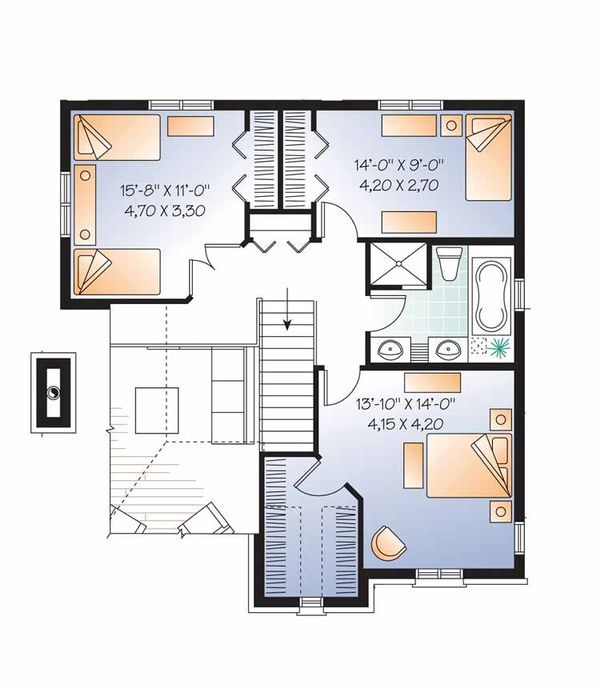 European Floor Plan - Upper Floor Plan Plan #23-2547