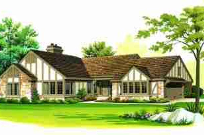 Tudor Exterior - Front Elevation Plan #72-309
