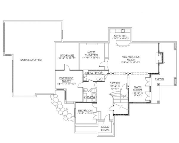 Traditional Floor Plan - Lower Floor Plan Plan #945-136