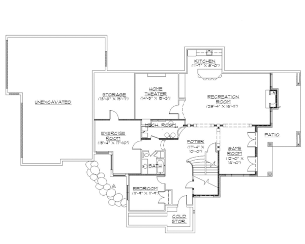 Traditional Floor Plan - Lower Floor Plan Plan #945-136