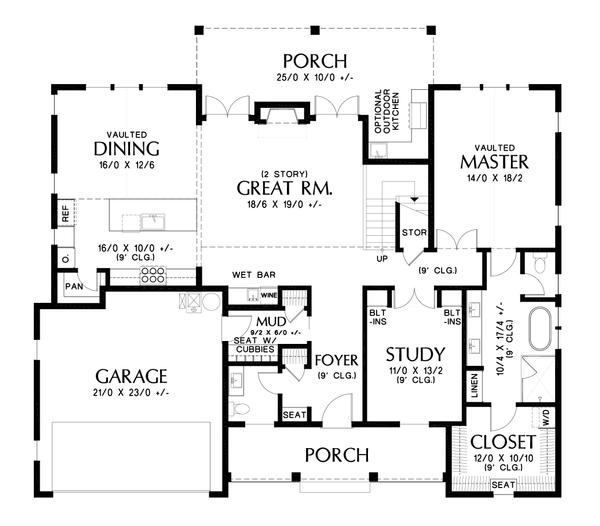 Contemporary Floor Plan - Main Floor Plan #48-1003