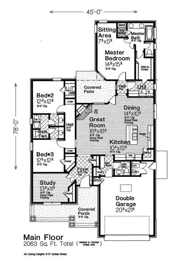 Home Plan - Craftsman Floor Plan - Main Floor Plan #310-1313