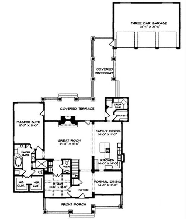 Craftsman Floor Plan - Main Floor Plan Plan #413-117