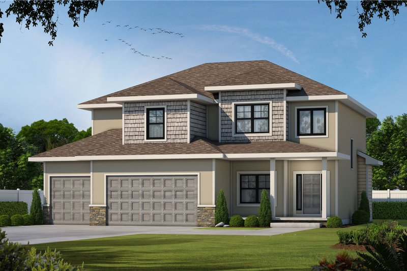 Traditional Style House Plan - 4 Beds 3.5 Baths 2738 Sq/Ft Plan #20-2406 Exterior - Front Elevation