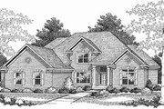 Traditional Style House Plan - 4 Beds 3.5 Baths 3521 Sq/Ft Plan #70-527 Exterior - Front Elevation