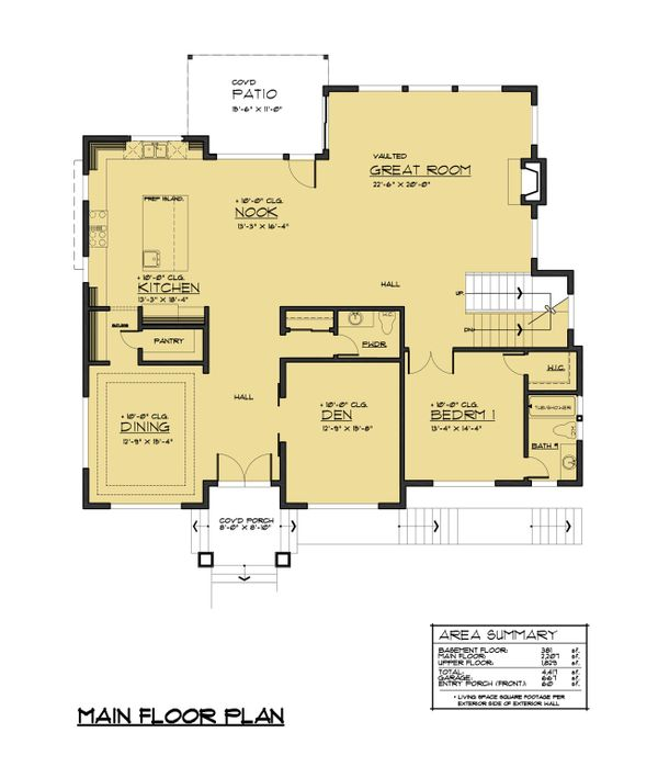 European Floor Plan - Main Floor Plan Plan #1066-74