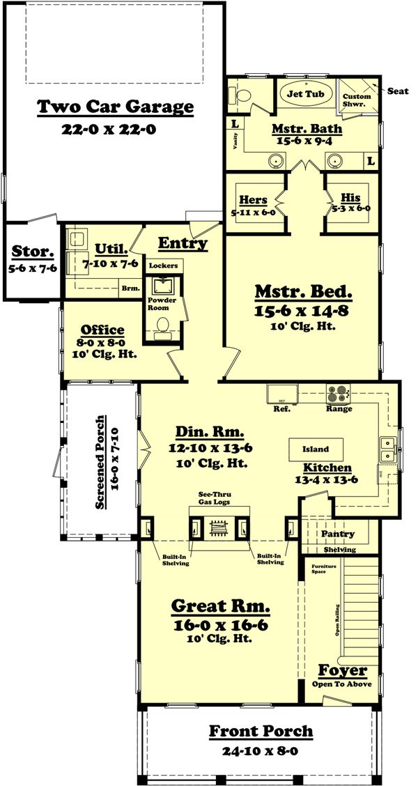 Farmhouse Floor Plan - Main Floor Plan Plan #430-76