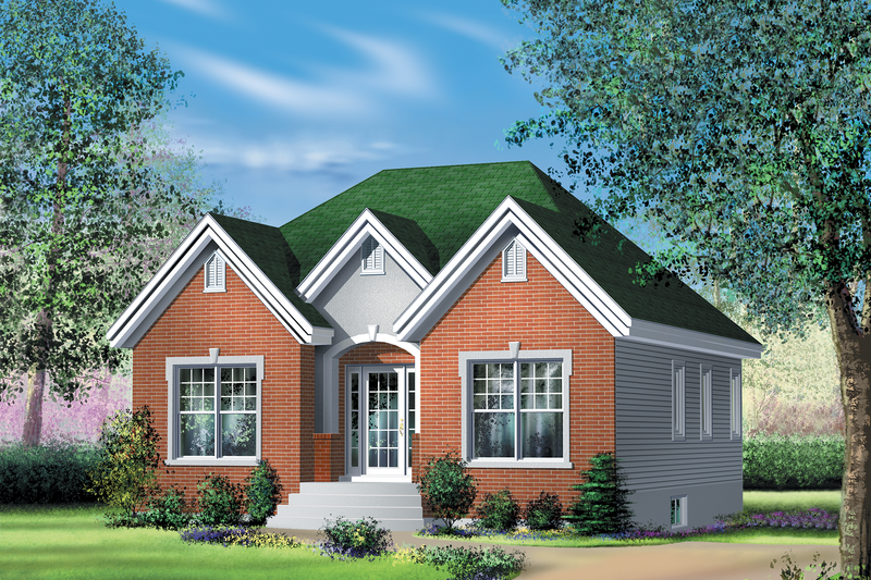 Country Style House Plan - 2 Beds 2 Baths 1292 Sq/Ft Plan #25-4455 Exterior - Front Elevation