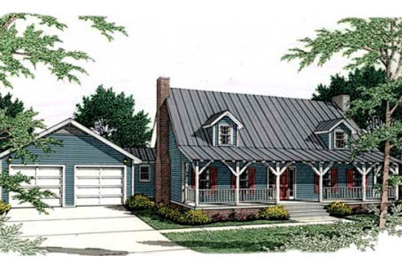 Country Exterior - Front Elevation Plan #406-229 - Houseplans.com