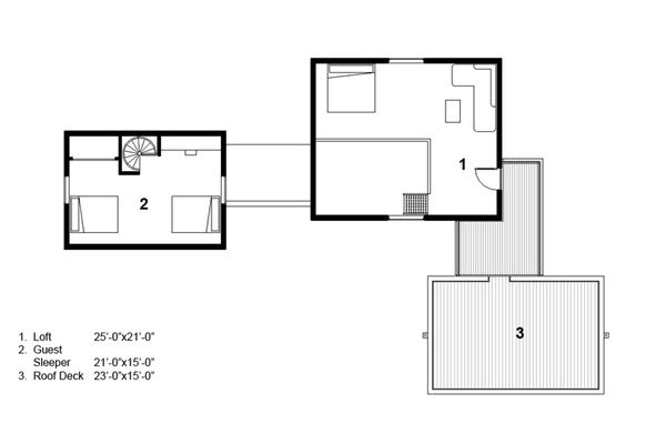 Modern Floor Plan - Upper Floor Plan Plan #497-56