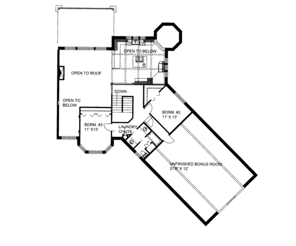 Contemporary Floor Plan - Upper Floor Plan #117-844