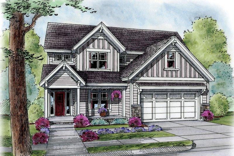 Architectural House Design - Country Exterior - Front Elevation Plan #20-2293