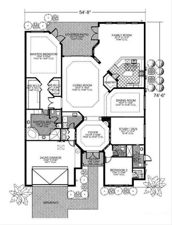 Mediterranean Floor Plan - Main Floor Plan Plan #420-215
