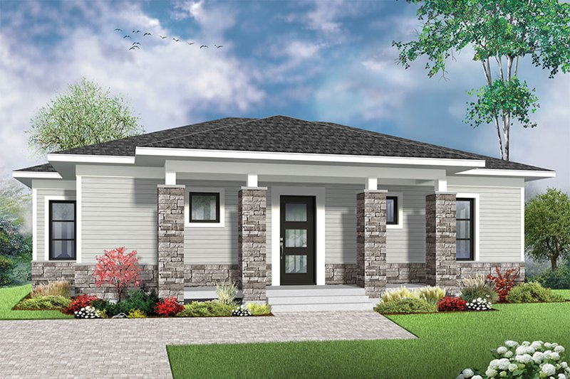 Ranch Style House Plan - 2 Beds 1 Baths 1007 Sq/Ft Plan #23-2619 Exterior - Front Elevation