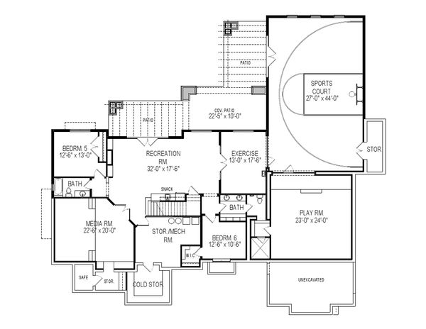 Craftsman Style House Plan - 6 Beds 5.5 Baths 6680 Sq/Ft Plan #920-24 Floor Plan - Lower Floor Plan