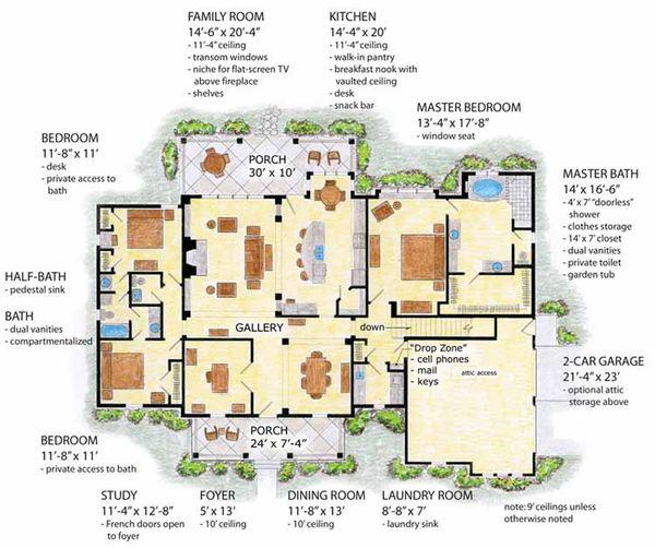 Colonial Floor Plan - Main Floor Plan Plan #410-3566