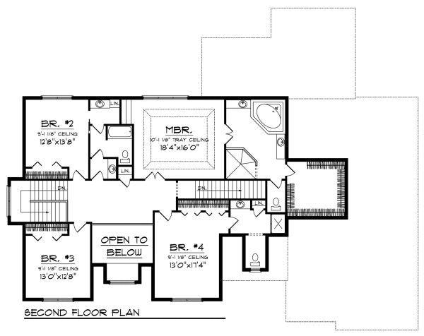 European Floor Plan - Upper Floor Plan Plan #70-888