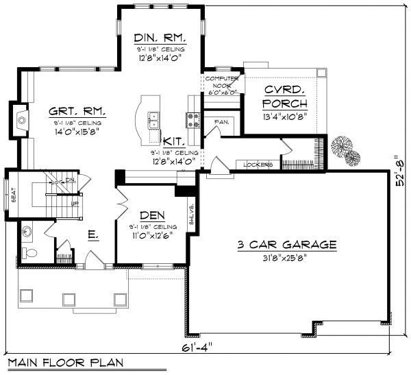 Prairie Floor Plan - Main Floor Plan Plan #70-1178