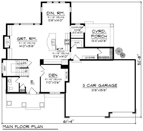 Architectural House Design - Prairie Floor Plan - Main Floor Plan #70-1178