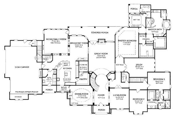 Country Style House Plan 5 Beds 3 Baths 6699 Sq Ft Plan